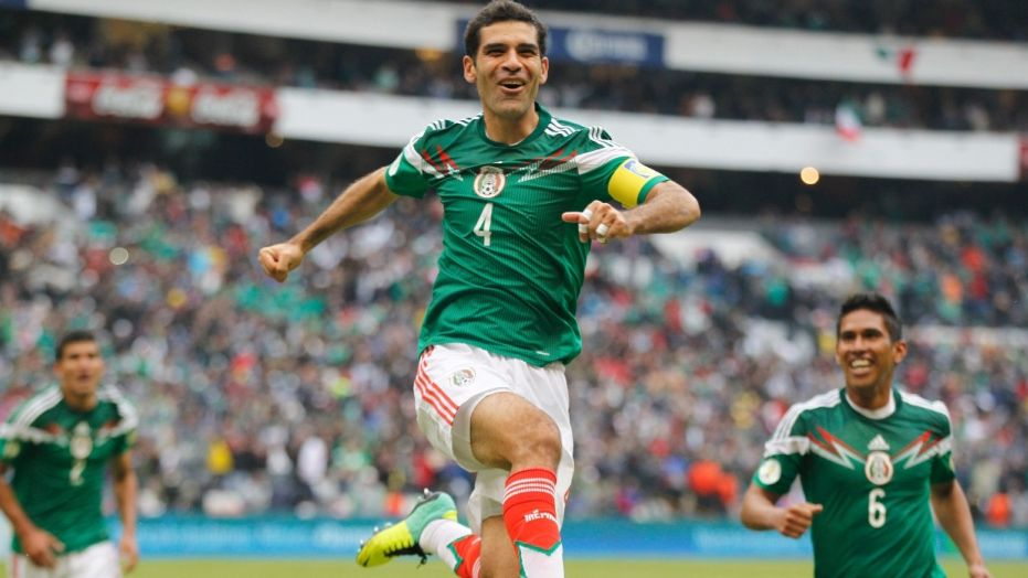 Mexico's Rafael Marquez celebrates after scoring a goal during a match against New Zealand in Mexico City, Nov. 13, 2013.