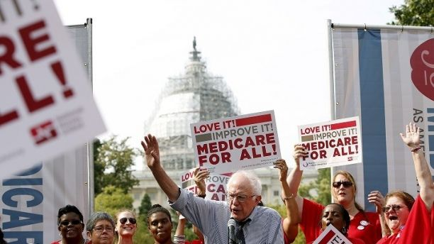 Democratic presidential candidate Bernie Sanders (I-VT) delivers remarks at a National Nurses United event to honor Medicare and Medicaid's 50th anniversary on Capitol Hill in Washington July 30, 2015. REUTERS/Gary Cameron - RTX1MFLD