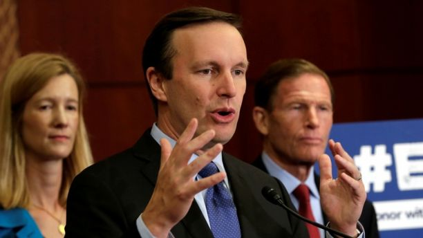 Senator Chris Murphy (D-CT) speaks during a news conference to demand the Congress' immediate action to reduce gun violence on Capitol Hill in Washington, U.S.,  October 3, 2017. REUTERS/Yuri Gripas - RC12F89D52F0