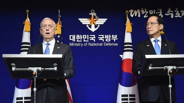 U.S. Secretary of Defense Jim Mattis, left, and South Korea's Defense Minister Song Young-moo hold a joint press conference after the Security Consultative Meeting (SCM) at the Defense Ministry, Saturday, Oct. 28, 2017, in Seoul, South Korea. During the briefing, Mattis says the threat of nuclear missile attack by North Korea is accelerating. (Jung Yeon-Je/Pool Photo via AP)