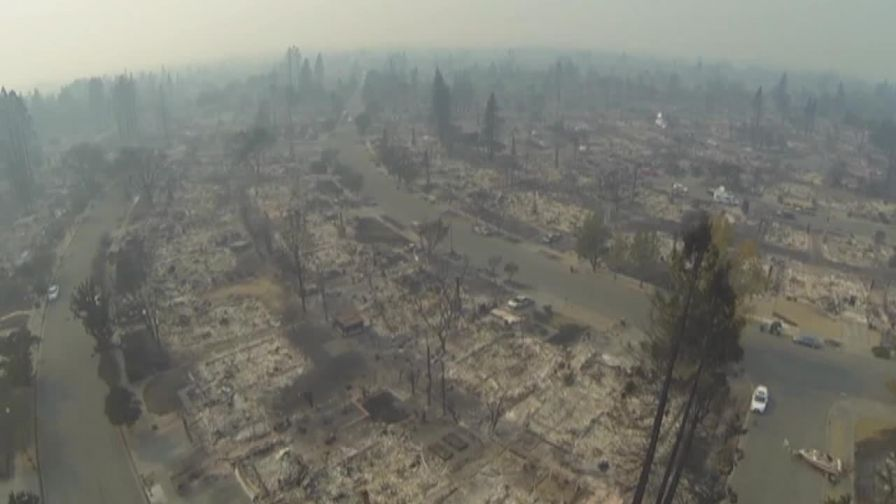 As wildfires sweep through California, drone footage captures dramatic footage of a decimated Santa Rosa.