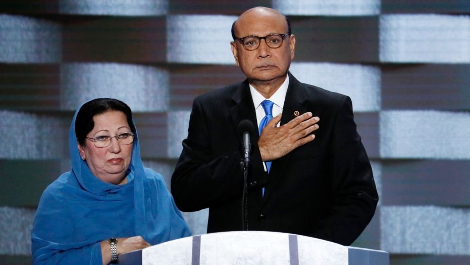 Khizr Khan, right, whose son was killed fighting for the U.S. military in Iraq, took issue Sunday with the White House's treatment of Gold Star families.