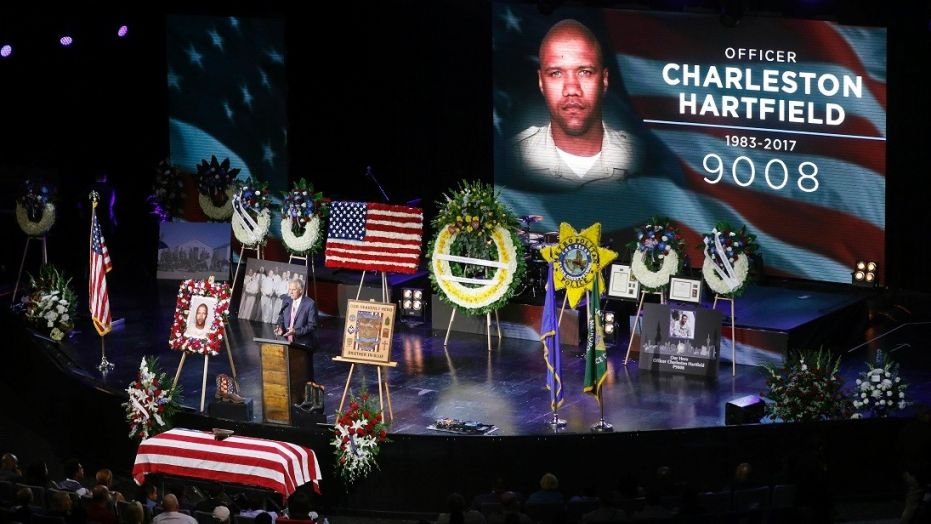 Las Vegas police officer Charleston Hartfield was laid to rest Friday, Oct. 20, 2017.