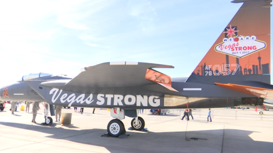 An F-15 fighter jet emblazoned with
