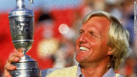 Greg Norman with the claret jug after winning the 1986 British Open.