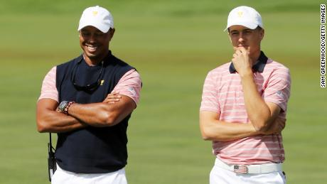 US vice captain Tiger Woods alongside Jordan Spieth at the 2017 Presidents Cup in New Jersey.