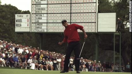 Tiger Woods finished 12 shots clear at the 1997 Masters, his first major title.