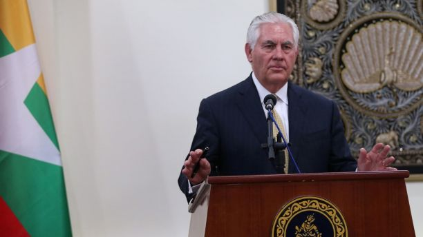 U.S. Secretary of State Rex Tillerson talks to media during a press conference after he met with Myanmar's State Counselor Aung San Suu Kyi at Naypyitaw, Myanmar November 15, 2015. REUTERS/Aye Win Myint - RC121A5B6B50