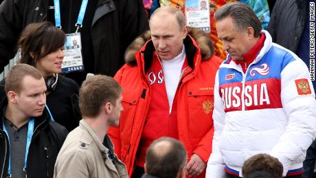 Russian President Vladimir Putin at 2014 Sochi Olympics alongside Vitaly Mutko, the former Minister of Sport who is now Deputy Prime Minister of Russia
