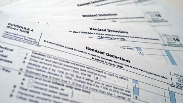 IRS Form 1040, Schedule A, Medical and Dental Expense forms shown, Monday, Nov. 6, 2017. Several million households unlucky enough to face high medical bills not covered by insurance would lose a valuable deduction under the GOP tax bill.  ( Photo/Pablo Martinez Monsivais)