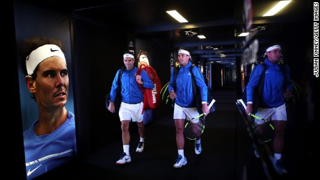 Roger Federer and Rafael Nadal are pictured together at the Laver Cup in September.