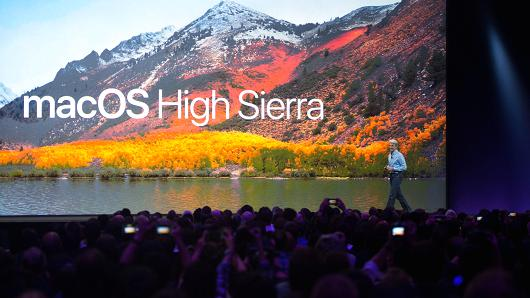 Apple's Senior Vice President of Software Engineering Craig Federighi introduces macOS High Sierra during Apple's World Wide Developers Conference in San Jose, California on June 05, 2017.
