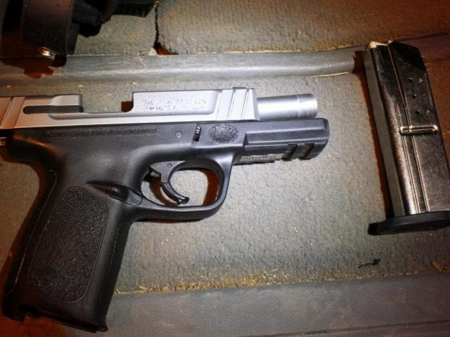 Handgun seized from alleged human smuggler in southwestern Arizona. (CBP Photo)