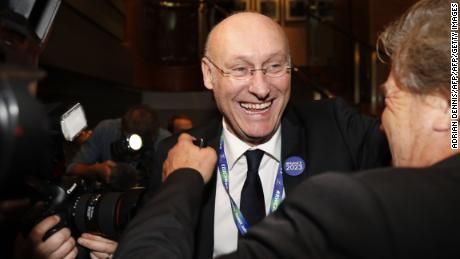 French rugby president Bernard Laporte celebrates after France is named 2023 Rugby World Cup host