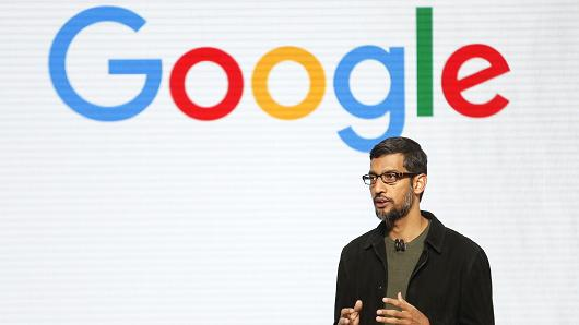 Google CEO Sundar Pichai takes the stage during the presentation of new Google hardware in San Francisco on Oct. 4, 2016.