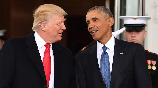 President Barack Obama welcome President-elect Donald Trump to the White House in Washington, DC January 20, 2017.