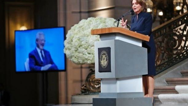 U.S. House of Representatives Minority Leader Nancy Pelosi speaks during a service celebrating the life of Mayor Ed Lee at San Francisco City Hall in San Francisco, Sunday, Dec. 17, 2017. San Francisco Mayor Ed Lee was remembered for his humility, integrity and infectious smile during a public celebration of his life Sunday at City Hall attended by family members, former staff, politicians and residents.  (Scott Strazzante/San Francisco Chronicle via AP, Pool)