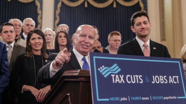 House Ways and Means Committee Chairman Kevin Brady, R-Texas, joined by Speaker of the House Paul Ryan, R-Wis., right, discusses the GOP's far-reaching tax overhaul. (AP Photo/J. Scott Applewhite)