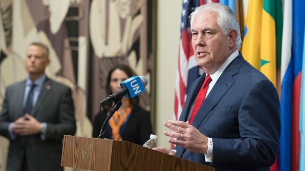 U.S. Secretary of State Rex Tillerson speaks to reporters after a high level Security Council meeting on the situation in North Korea, Friday, Dec. 15, 2017 at United Nations headquarters. (AP Photo/Mary Altaffer)