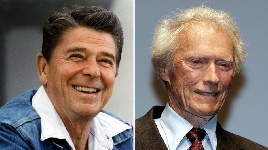 Former president Ronald Reagan and actor Clint Eastwood
