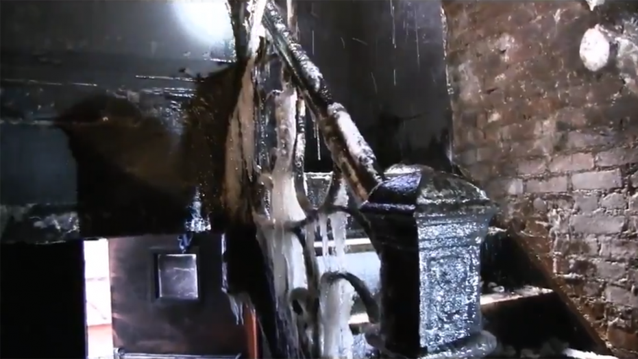 The inside of a Bronx building that was devastated by fire Thursday night.