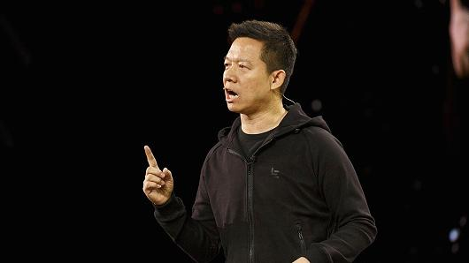 LeEco founder Jia Yueting speaks at the 2017 Consumer Electronics Show on Jan. 3, 2017.