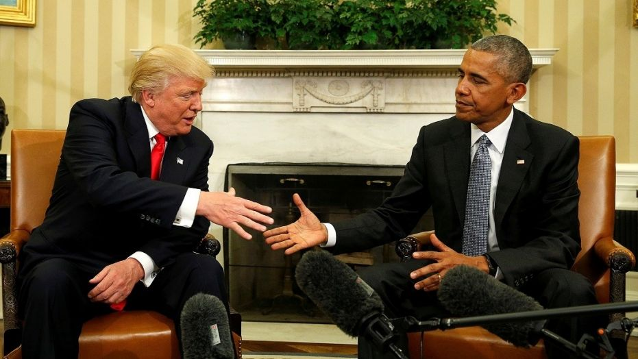 Then-President Barack Obama meets with Donald Trump in the Oval Office shortly after the Manhattan businessman was elected.