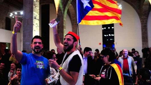Pro Secessionist Supporters React To Election Results For The Catalan National Embly On December 21