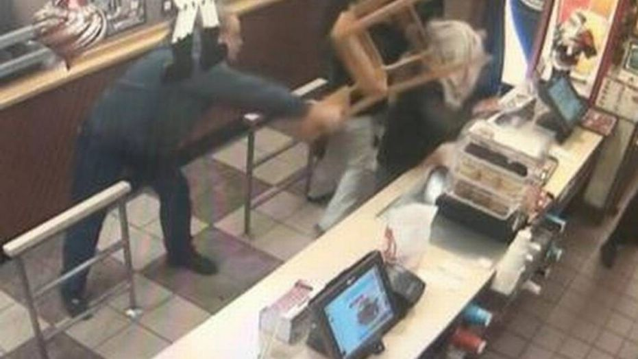 An attempted robbery was prevented at a Wendy's in Utah after a man hit the thief over the head with a chair, reports said.