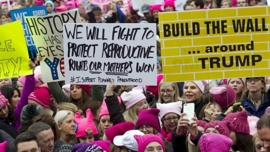 January 21, 2017: Women with bright pink hats known as the