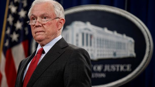 U.S. Attorney General Jeff Sessions stands during a news conference to discuss