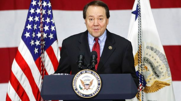 FILE - In this Saturday, April 1, 2017, file photo, Rep. Pat Tiberi, R-Ohio, speaks at DynaLab, Inc., in Reynoldsburg, Ohio. Tiberi said Thursday, Oct. 19, that he will resign from his seat to take the helm of a business policy group back home. (AP Photo/John Minchillo, File)