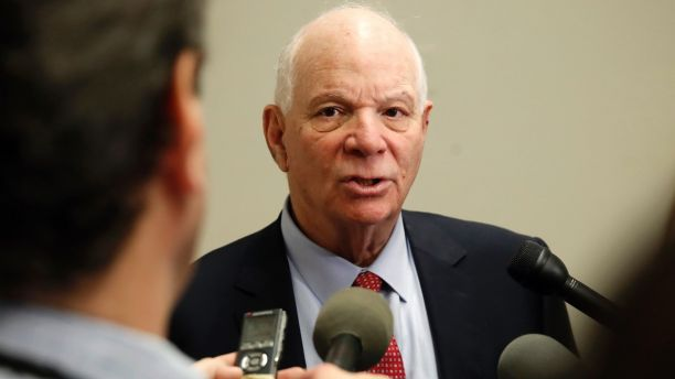 Sen. Ben Cardin, D-Md., speaks to the media after attending a meeting with a bipartisan group of senators, Monday Jan. 22, 2018, on day three of the government shutdown on Capitol Hill in Washington. (AP Photo/Jacquelyn Martin)