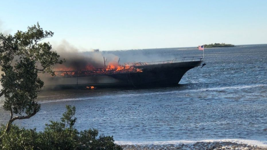 The boat carrying 50 passengers caught fire in the Gulf of Mexico off Florida.