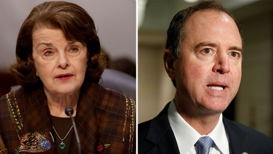 Rep. Adam Schiff, D-Calif. (right), and Sen. Dainne Feinstein, D-Calif. (left), sent a letter on Tuesday to Facebook and Twitter asking them to conduct their own investigation into Russian propaganda.