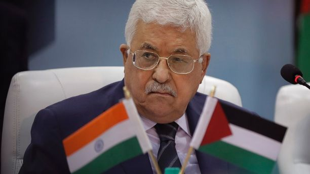 CORRECTS DESCRIPTION OF VISIT - Palestinian President Mahmoud Abbas listens to a speaker during his visit to the Centre for Development of Advance Computing in Noida on the outskirts of New Delhi, India, Monday, May 15, 2017. Abbas is on a four-day visit to India. (AP Photo/Manish Swarup)
