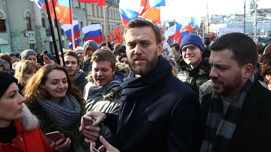 Russian opposition leader Alexei Navalny at a mass march on the one-year anniversary of dissident Boris Nemtsov's killing on Feb. 27, 2016 in Moscow, Russia.