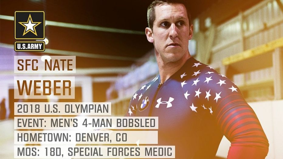 Pictured above, Sgt. 1st Class Nathan Weber, of the 10th Special Forces, will complete in the 2018 U.S. men's bobsled team.