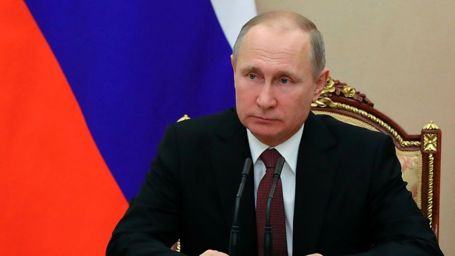 Russian President Vladimir Putin chairs a Security Council meeting in Moscow, Russia.