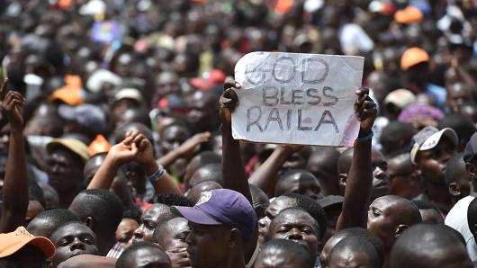 Supporters attend the 'people's president' swearing-in ceremony of Kenya's opposition National Super Alliance (NASA) coalition leader Raila Odinga on January 30, 2018, in Nairobi.