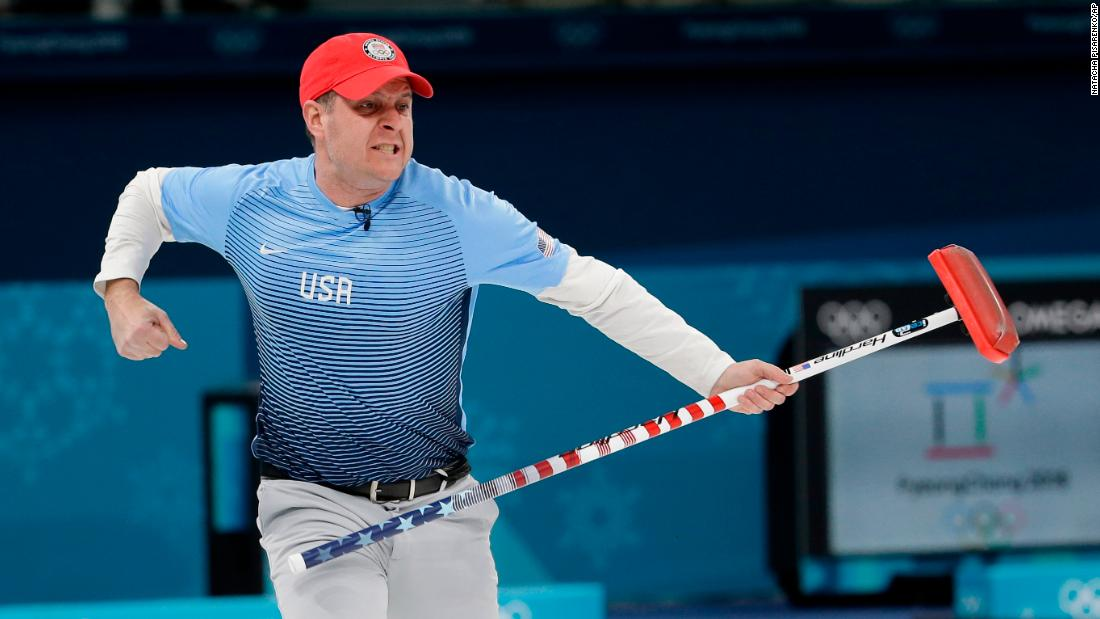 US skip John Shuster reacts during the men's curling final against Sweden. The Americans won gold in the event for the first time ever.