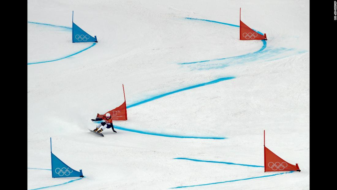 Slovenia's Gloria Kotnik races down the course for the parallel giant slalom.