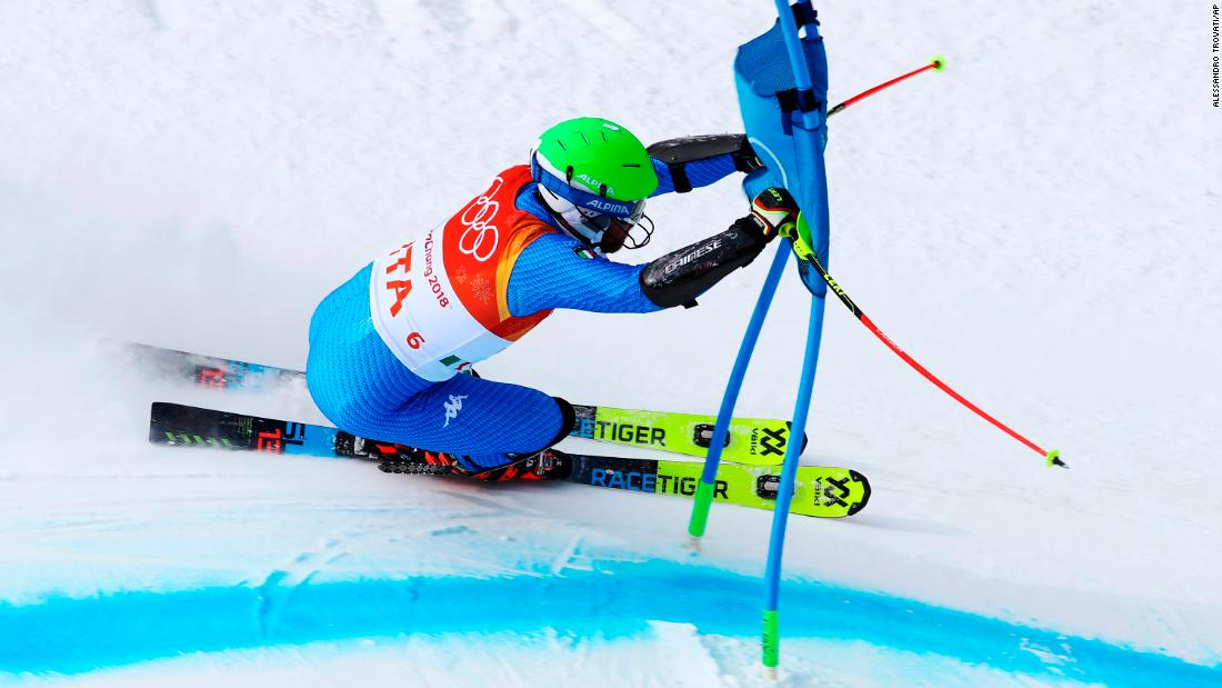 Italy's Riccardo Tonetti skis during the team event.