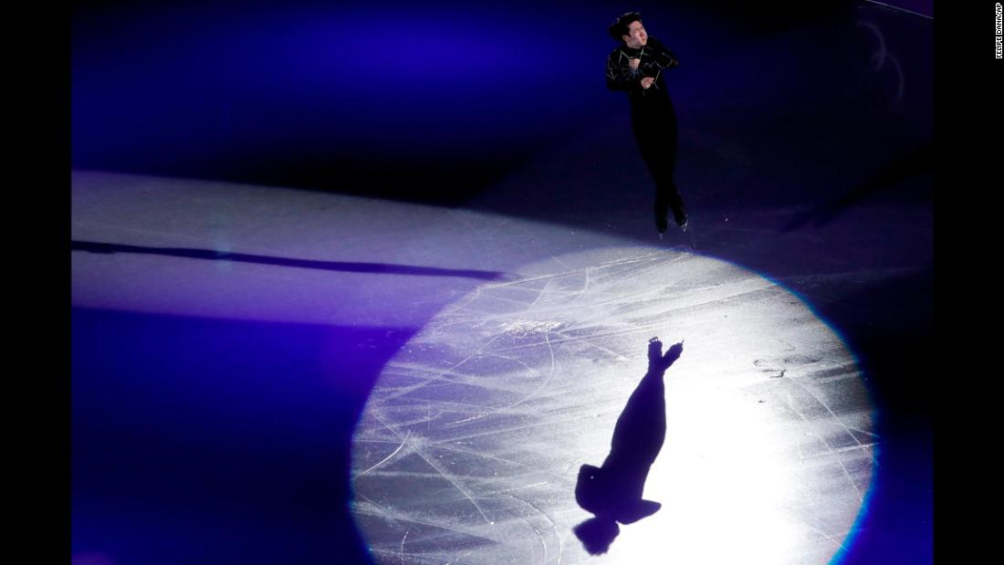 Chinese figure skater Jin Boyang performs during the exhibition gala.