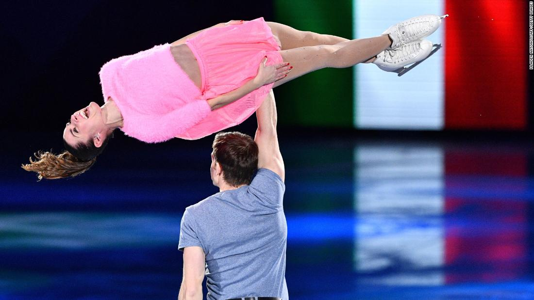 Italian figure skaters Valentina Marchei and Ondrej Hotarek perform in the gala exhibition.