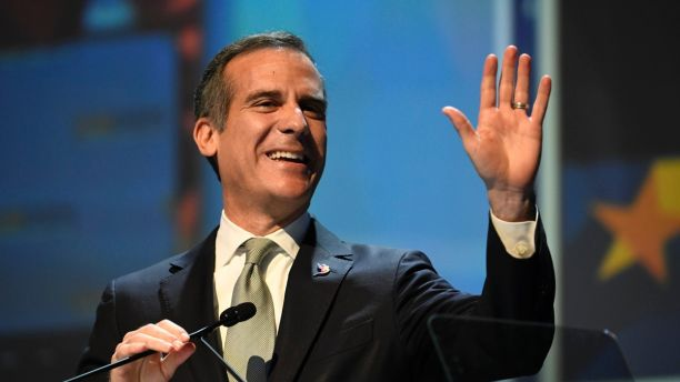Los Angeles Mayor Eric Garcetti speaks at the 2018 California Democrats State Convention Saturday, Feb. 24, 2018, in San Diego. (AP Photo/Denis Poroy)