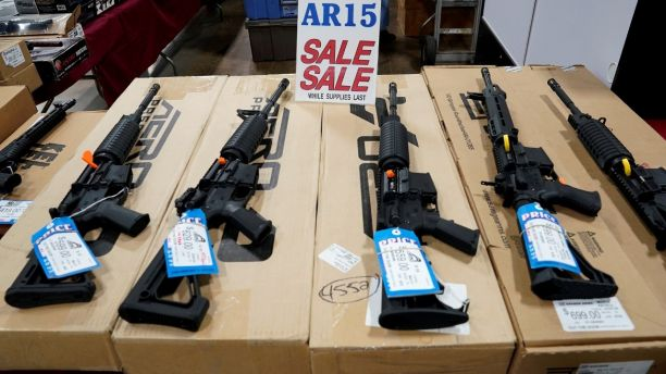 AR-15 rifles are displayed for sale at the Guntoberfest gun show in Oaks, Pennsylvania, U.S., October 6, 2017.   REUTERS/Joshua Roberts - RC120D41AB00