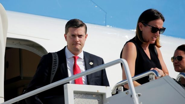 White House Staff Secretary Rob Porter (L) arrives aboard Air Force One with fellow senior staff and U.S. President Donald Trump for a summer vacation at his Bedminster estate, at Morristown Airport in Morristown, New Jersey, U.S. August 4, 2017. Picture taken August 4, 2017. REUTERS/Jonathan Ernst - RC1F4DCDCDA0