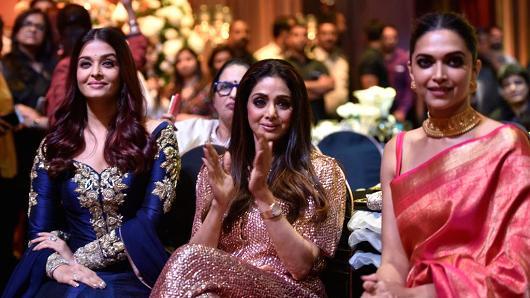 Aishwarya Rai, Deepika Padukone and Sridevi (center) during Hindustan Times India's Most Stylish Awards at Yash Raj Films Private Limited on January 24, 2018 in Mumbai, India.