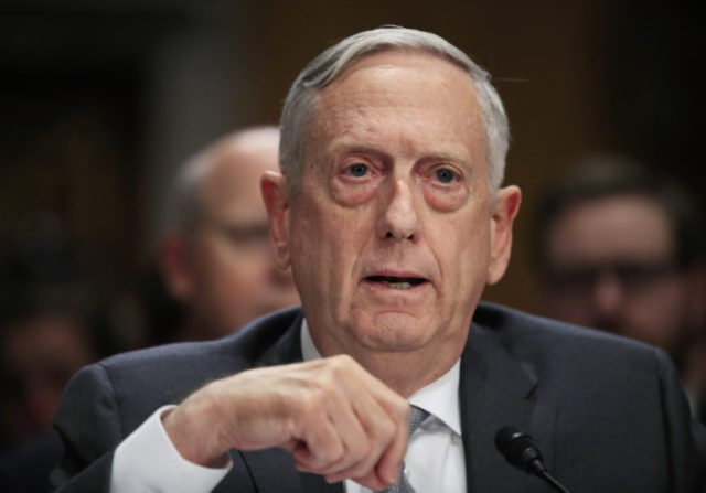 FILE - In this Oct. 30, 2017, file photo, Secretary of Defense Jim Mattis, testifies during a Senate Foreign Relations Committee hearing on